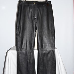 ST. JOHN BLACK LEATHER LINED MOTO PANT SZ 10